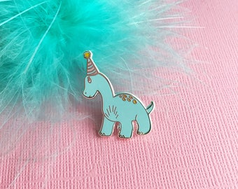 Coco The Party Dinosaur Enamel Pin | Cute Enamel Lapel Pin | Dino | Party Animal | Celebration Lapel Pin | Party Hat | Birthday Pin | Rawr