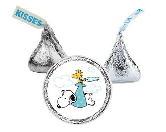 Snoopy Baby Shower, Candy Stickers, Hershey Kiss Stickers, Boy Blue, Girl Pink, Green Gender Neutral , Favors,108 Stickers, Envelope Seals