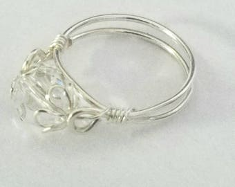 Swarovski Crystal Ring, Sweet Sixteen Gift, Purity Ring,Sterling Silver Handcrafted
