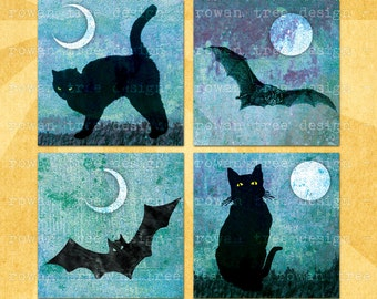 Digital Collage Sheet BATS & BLACK CATS 1.5in or 1in Squares Printable Download - no. 0015