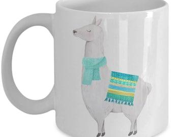 Spiffy Cute Llama With Blue Blanket Mug