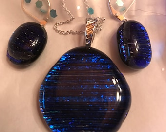 Striped of Blue Necklace and Earrings set