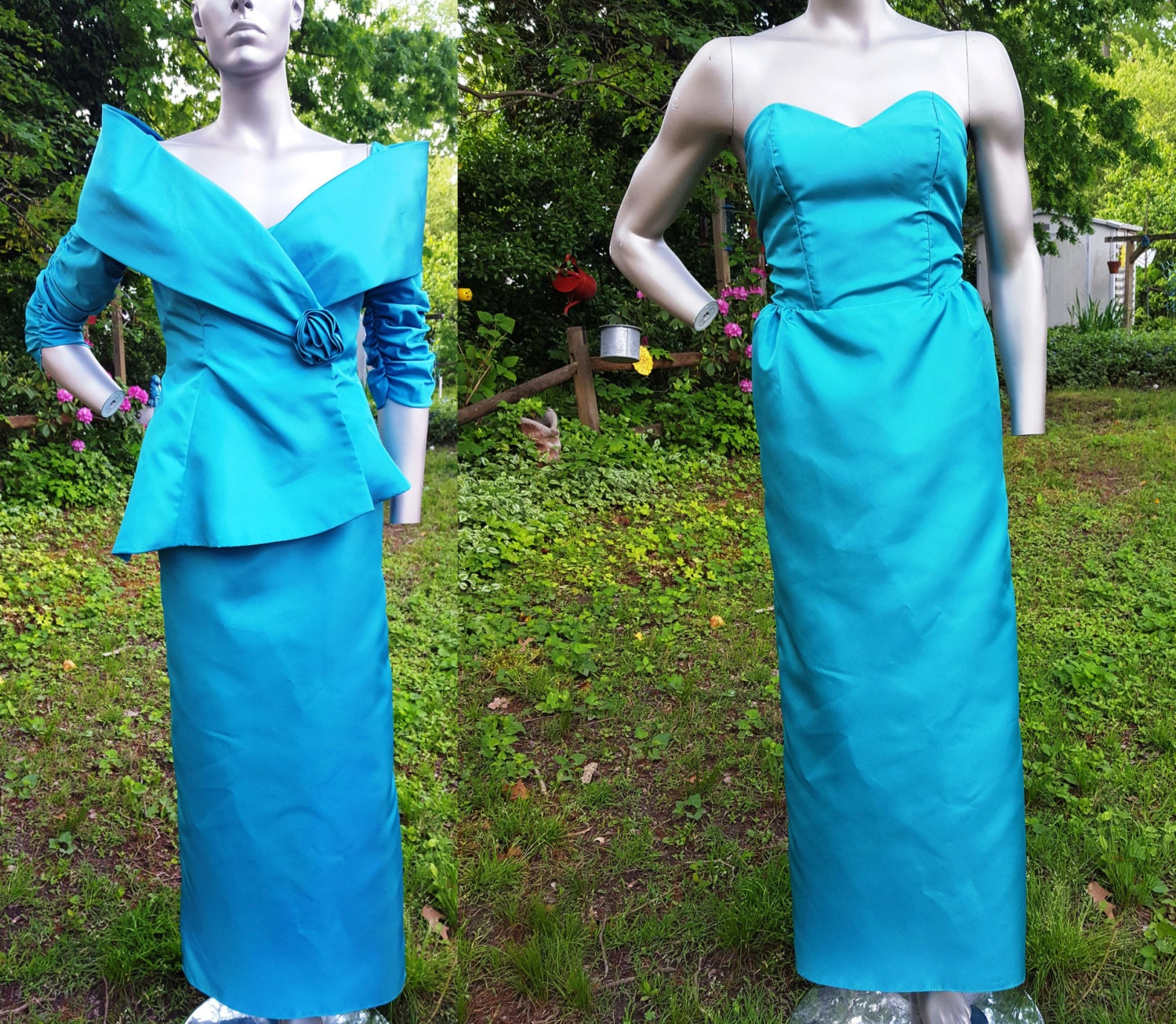 80s Prom Dress Vintage Jacket Teal Dress Teal Jacket