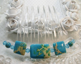 Turquoise Imperial Jasper and Swarovki crystal elements French Twist Large hair comb Fascinator Clear comb