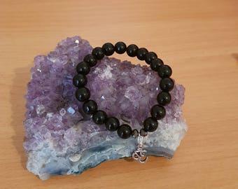 Om charm bracelet black beads ~ 8mm beads