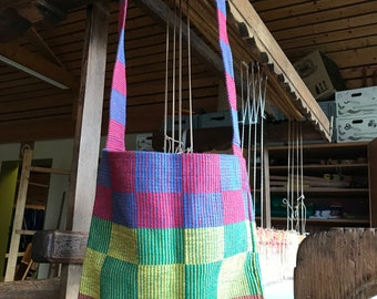 Shoulder bag hand-woven, green, yellow, red, blue checkered