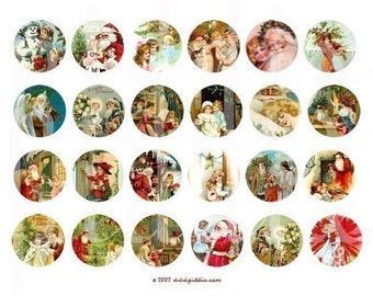 Vintage Christmas Angels and Cherubs in 1.5 inch Circles -- piddix digital collage sheet no. 199