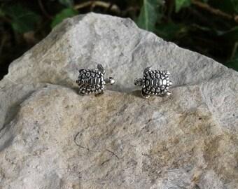 Turtle Earrings, Solid Sterling Silver Turtle Stud Earrings, Turtle jewelry
