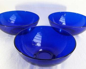 Set of 3 Cobalt Blue Glass Bowls