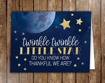 10 Moon and Stars Thank you Cards, Starry Night Thank yous, Galaxy, Celestial, Twinkle twinkle Folded Thank you Cards, baby shower, birthday