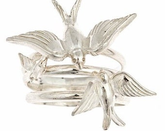 Mama Bird Baby Bird Daddy Bird Swallow Sterling Silver Ring