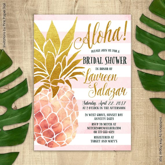 pineapple invitation bridal shower invitation pink and gold
