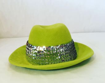 Hand-Blocked Felt Fedora with Silver Sequined Hat Band