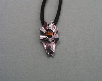 Sterling Silver Bat Pendant With Tiger Eye