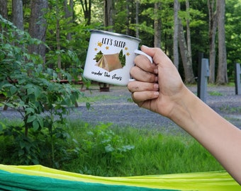 Lets Sleep Under the Stars Mug - Camping Gear - Camp Mug - Wanderlust - Cute Mug - Camping Coffee Mug - Gift for Campers - Happy Campers