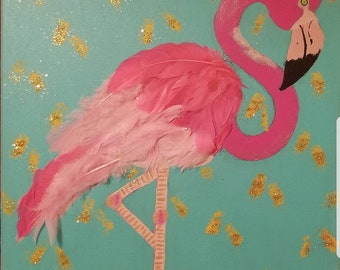 Pink Flamingo Painting feat. REAL feathers
