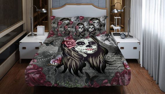 sugar skull drap de lit housse de couette t te de mort de la. Black Bedroom Furniture Sets. Home Design Ideas