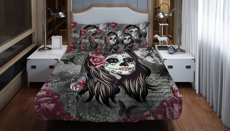 Candy Skull Bedding: Sugar Skull Comforter Set ,Duvet Cover , La Rosa Skull