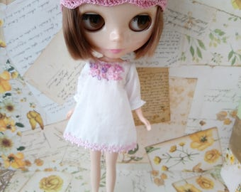 blythe blouse dress for pullip Neo blythe licca dal shibajuku hand embroidery clothes outfit doll clothing 1/6 scale vintage style