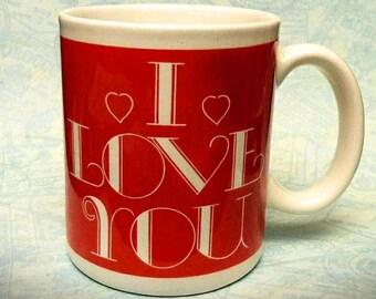 I Love You Vinatge Coffee Mug/ Cup Valentine's Day Gift