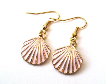 Shell Earrings in Pastel Pink and Gold, Drop Earrings, Pink Shell, Gold Earrings, Choose Gold Plated or Gold Filled Wires