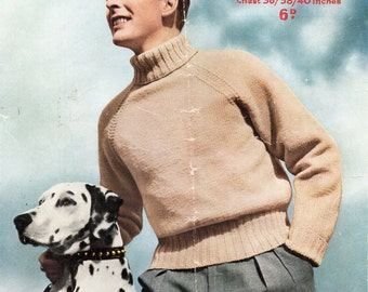 mens polo neck sweater knitting pattern pdf DK roll neck jumper Vintage 50s 36-40 inch DK light worsted 8ply Instant Download