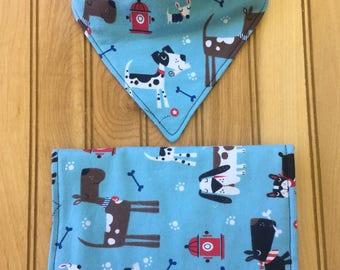 Burp Cloth & Bandana Bib Feeding Set - Dogs, Puppies / Blue, White, Black, Red