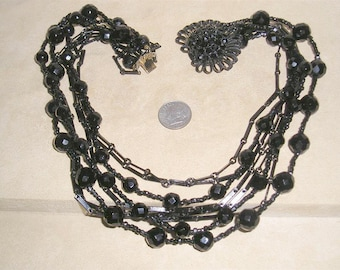 Vintage 8 Strand Black Glass Necklace With Rhinestones CLasp 1940's Jewelry 11082