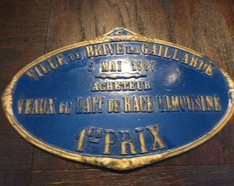 Vintage French Plaque from May 5, 1987 Livestock faire.