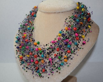 Multicolor necklace beaded choker womens gift wood bead boho jewelry statement handmade multi strand knit fishing line crochet messy