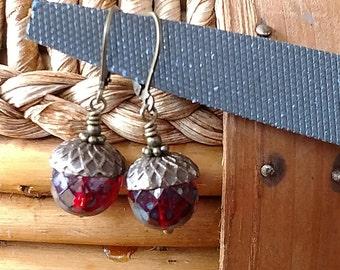 Czech Glass Acorn Wine Red Earrings Antique Brass