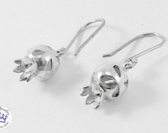 Pomegranate bell ball earrings open
