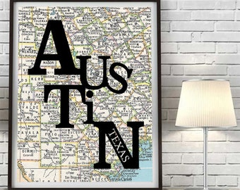 Austin Texas UT Longhorns Congress Typography Vintage Map ART PRINT vintage map poster decor art, gift for couple housewarming moving travel