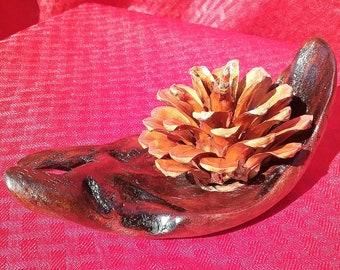 """Redwood Burl Rose sculpture, 6"""" Handmade, Natural ocean driftwood, pine cones"""