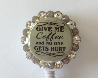 Coffee Lovers Retractable Badge/ID Holder with Charm/Beads
