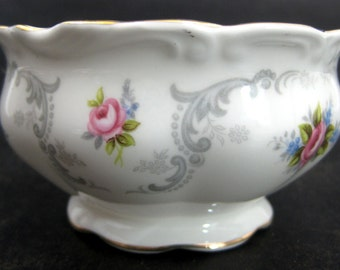 Royal Albert Tranquility Sugar Bowl Gray Scroll Pink Roses Gold Tranquillity