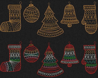 Christmas set: sock, mitten, bell, tree and tree decorations - Machine embroidery design - 3 sizes for instant download