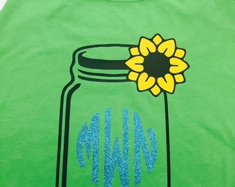 mason jar sunflower monogram tank top