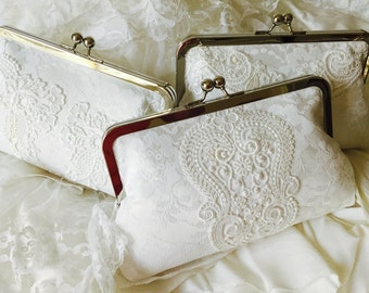 BRIDES WEDDING CLUTCH, Keepsake, made from my Moms wedding dress, Use moms dress to make a family heirloom