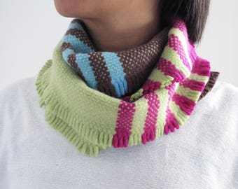 100% Lambswool Hand Woven Hoop Scarf -  Colourful Block Stripes