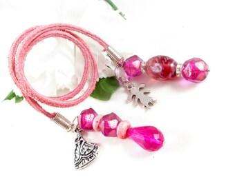 Pink Book Thong Book Mark, Princess Charm Beaded Bookmark, Handmade Bookmark, Suede Bookmark, Book Accessories, Book Club Gifts