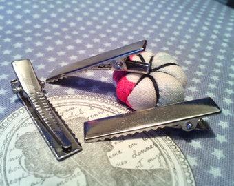 x 6 Platinum metal alligator hair clips: 34 x 7 mm