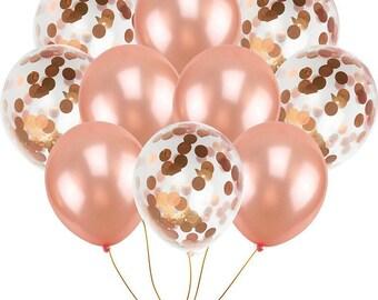 Rose gold confetti balloon Bouquet party Latex balloon | Party balloon | Rose gold birthday party balloon bundle | Rose gold decoration|