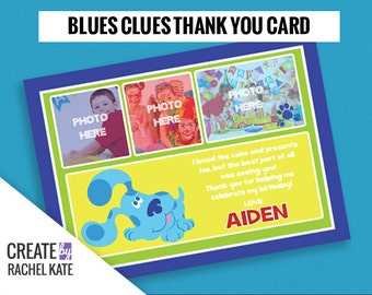 Blues Clues Birthday Party Personalized Printable Thank You Card Grid | Color - Blue