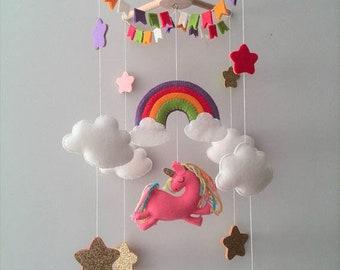 Baby Mobile Unicorn Pink Nursery Mobile / Girl Mobile Rainbow Clouds Unicorn Mobile Felt Cot Mobile Baby Mobile Girl Crib Mobile Ping