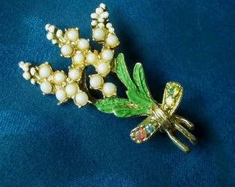 Vintage crystal, faux pearl and enamel gold tone metal brooch - A bouquet of lucky white heather - 1950's - Used