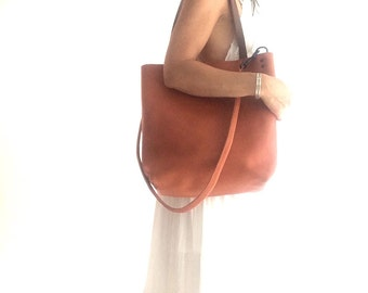 Brown Leather Tote Bag - camel Brown Leather Travel Bag - Leather Market bag - cross body travel tote- Sale