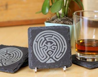 The Maze - Premium Natural Slate Coasters