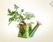 DIY Watering Can Vase / Pen Stand Papercraft | Artistic Floral Green Home Decor Flower Holder Desk Accessory | A4 template Instant download