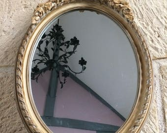 Mirror Medallion pediment bow and grey taupe and clay roses